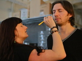 <p>Charles Ferri, Founder and CEO of Star Vodka, get his makeup done for the&nbsp; Michael Fenici runway show.</p>