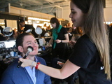 <p>Jonathan Stein gets his makeup done before he walks the Michael Fenici runway show. &quot;I&#39;m not nervous,&quot; Stein said. &quot;I am just excited to walk down the runway.&quot;</p>