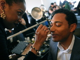 <p>Matthew Tolin, owner of Channel Production Films, gets his makeup done.</p>