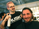 <p>Sergio Fernandez de Cordova, co-founder of Innovators fund, gets his hair done for the Michael Fenici runway show.</p>