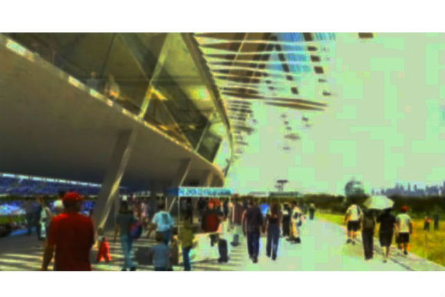 <p>Renderings of the promenade outside of a proposed MLS stadium in Flushing Meadows-Corona Park.</p>