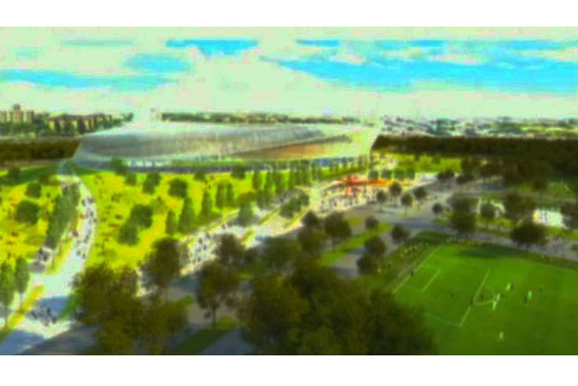 <p>Renderings of the exterior to a proposed MLS stadium in Flushing Meadows-Corona Park.</p>