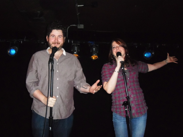 <p>Monologue Jam hosts J.F. Harris and Erin Conroy.</p>
