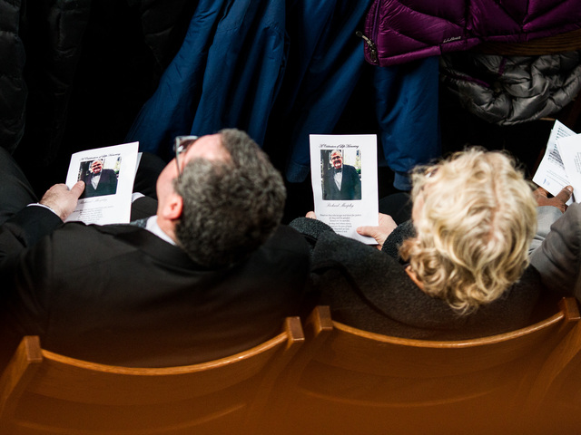 <p>Mourners attend the funeral services for youth services advocate Richard Murphy, 68, who passed away on Feb. 14, 2013, in Manhattan.</p>