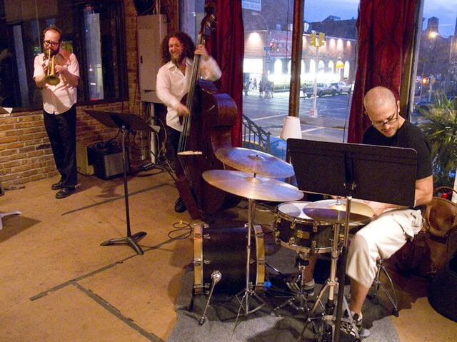 <p>The Max Johnson Trio performs at the Brooklyn Lyceum in 2011. The Lyceum, a former public bath house, is now an arts venue. It could be sold at a foreclosure auction.</p>