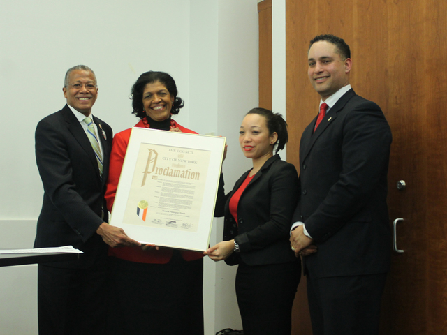 <p>City councilman Robert Jackson, community board 12 treasurer Pamela Palanque-North, Ydanis Rodriguez representative Yokarina Duarte and community board chairman George Fernandez pose for a photo after Palanque-North is honored with a proclamation.</p>