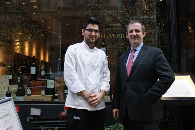 <p>Parea&#39;s general manager Jean Christophe Villard and executive chef Ioannis Benetos in front of Parea Prime, located at 36 E. 20th St.</p>