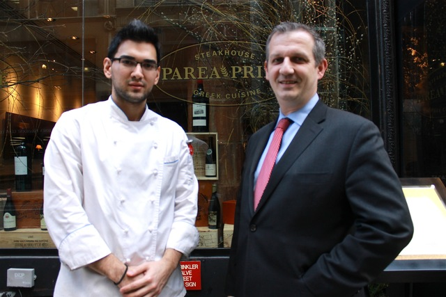 <p>Parea&#39;s general manager Jean Christophe Villard and executive chef Ioannis Benetos in front of Parea Prime restaurant, located at 36 E. 20th St.</p>