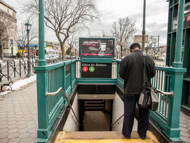 <p>A passenger at the station at Utica Avenue and Eastern Parkway, where a woman was struck and killed by a 3 train on Tuesday February 12th, 2013.</p>
