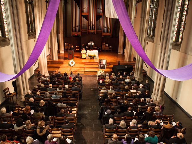 <p>Mourners packed the Union Theological Seminary Chapel, on Feb. 16, 2013 to honor youth services advocate Richard Murphy, 68. Murphy passed away on Feb. 14, 2013, in Manhattan.</p>