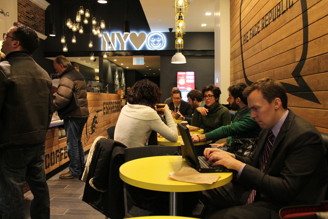 <p>Pie Face&#39;s Seventh Avenue restaurant, its third location in New York City, offers seating and free Wi-Fi. It opened Tuesday, Feb. 19, 2013.</p>