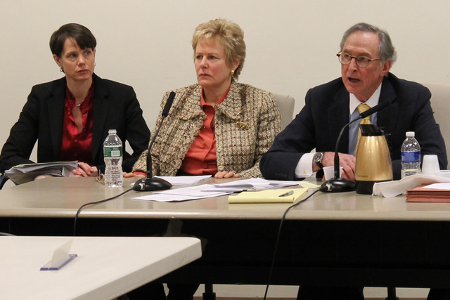 <p>Cablevision executive vice president Lisa Rosenblum, center, testified at a hearing convened by the City Council&#39;s Subcommittee on Zoning and Franchises Tuesday, Feb. 26, 2013.</p>
