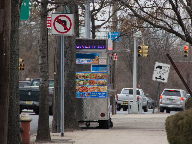 <p>Residents said the food trucks can make it harder for them to see when pulling out of parking lots on Staten Island, Feb. 25, 2013.</p>