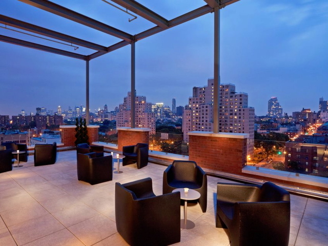 <p>The rooftop lounge at the Fairfield Inn on Third Avenue in Gowanus. The hotel&#39;s manager has said guests have complained about late-night drumming from an artists&#39; building next-door.</p>