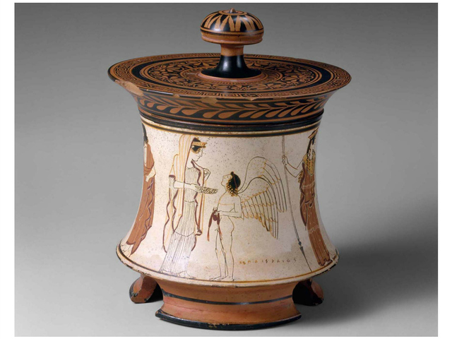 <p>This terra cotta box tells the mythic tale of &quot;The judgment of Paris,&quot; a Greek fable fictionally explaining the Trojan War.&nbsp;</p>