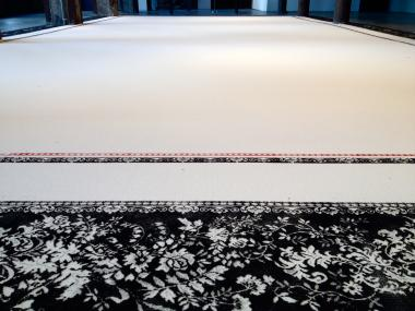 Artist Aude Moreau created a large-scale rug using 4,500 pounds of sugar.