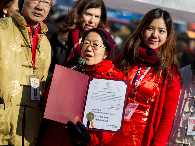 <p>City Councilwoman Margaret Chin at the the Chinese New Year celebrations in Sara D. Roosevelt Park for the 14th Annual Firecracker Ceremony and Cultural Festival on Feb. 10, 2013.</p>