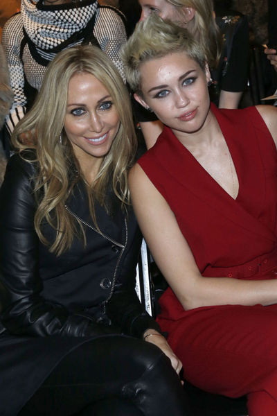 <p>Miley Cyrus and her mother Tish at the Rachel Zoe show at Lincoln Center, Wednesday, February 13, 2013.</p>
