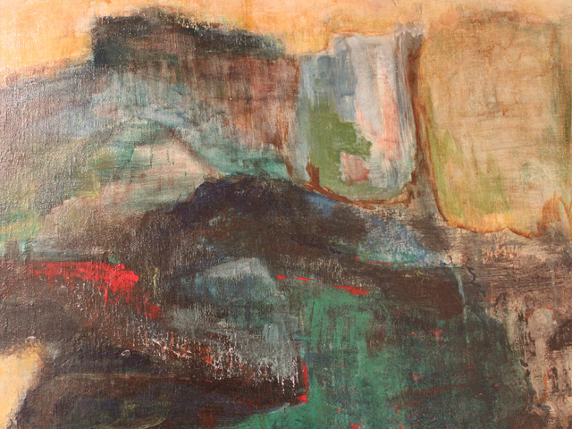<p>Arline Jacoby&#39;s oil-on-canvas landscape, on display at the Stonehenge-Luce Nonprofit Space, sells for $3,000.</p>
