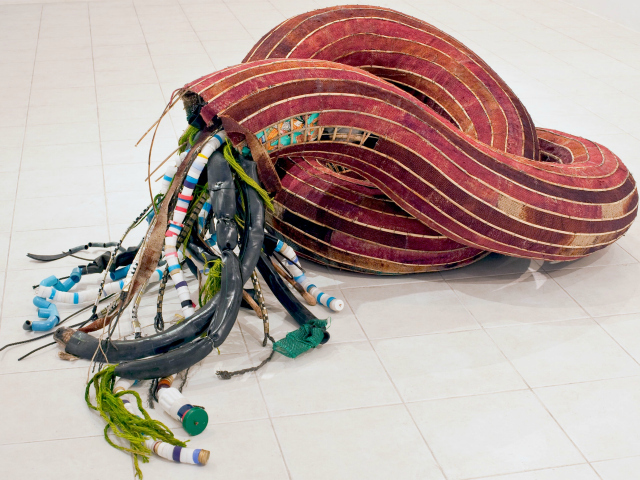 <p>A sculpture by Cambodian artist Sopheap Pich, whose work is on display at the&nbsp;<a href=