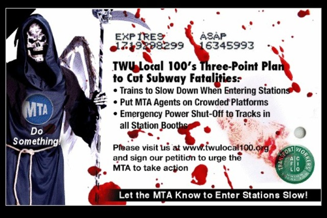 <p>Local 100 will be distributing these mock MetroCards to promote its plan to slow down trains as they enter subway stations, following a spike in subway fatalities.</p>