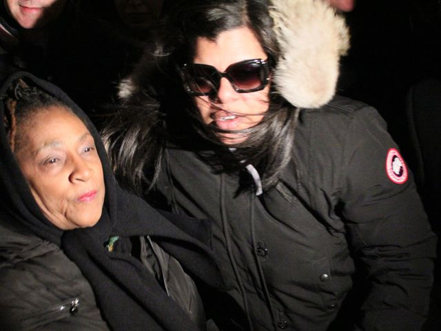 <p>Raphael Ward&#39;s mother, Arlene Delgado (right), spoke at a unity march against recent violence on the Lower East Side.&nbsp;</p>