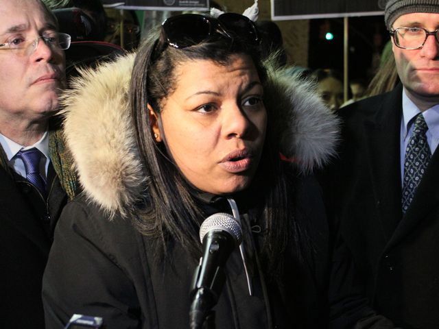 <p>Raphael Ward&#39;s mother, Arlene Delgado, spoke at a unity march against recent violence on the Lower East Side.</p>