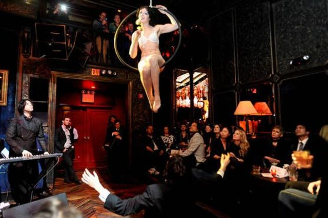 <p>Acts include an aerial dance in a flying wedding ring.</p>