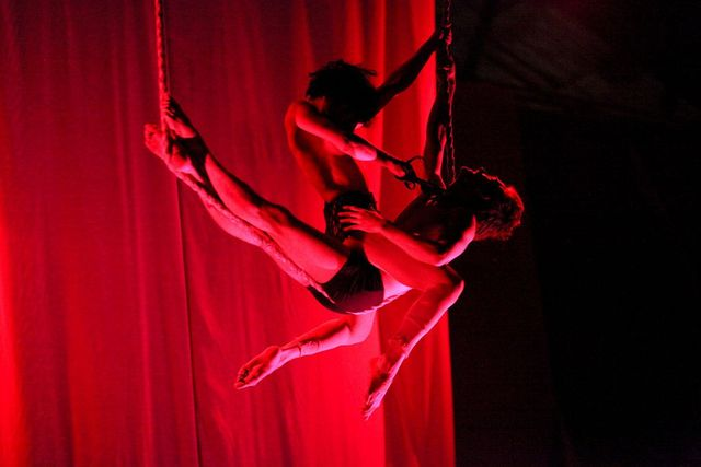 <p>The House of Yes&#39; aerial performances in the &quot;Valentine&#39;s Massacre&quot; explore the sadomasochistic&nbsp;side of love.</p>