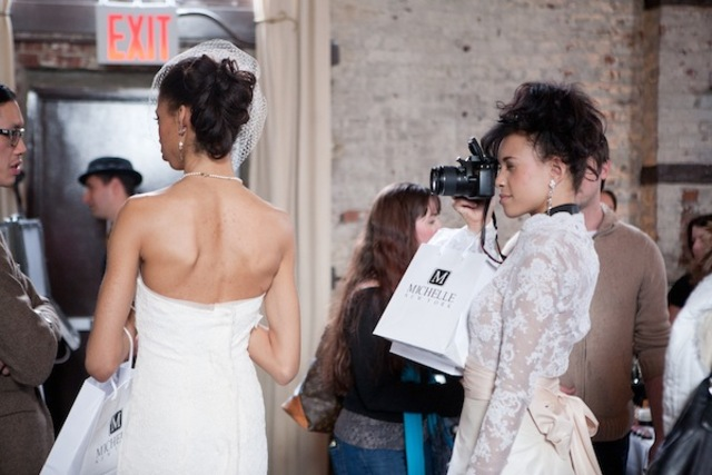 <p>Models from Michelle New York dressed in the designers gowns, at Wedding Crashers 2012.</p>