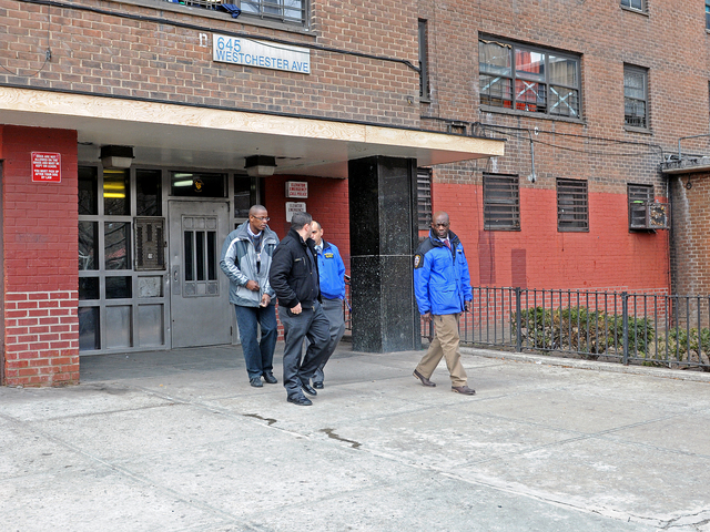 <p>The Westchester Avenue building where a 5-year-old boy was shot in the shoulder Feb. 22, 2013.</p>