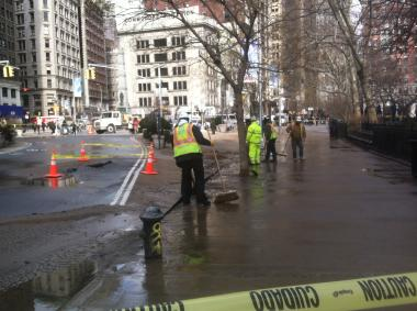 A water main near Madison Square Park burst about 10:35 a.m. on Friday Feb. 1, 2013.