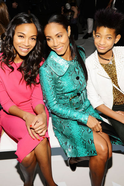 <p>Zoe Saldana, Jada Pinkett and Willow Smith at the Michael Kors show at Lincoln Center, Wednesday, February 13, 2013.</p>