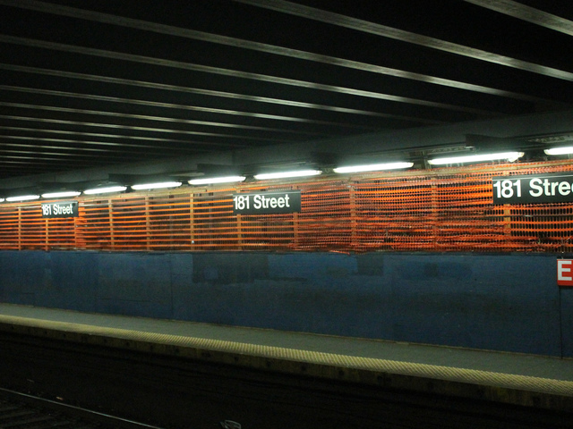 <p>Metals beams currently support the ceiling of the 181st Street subway station, with partially collapsed in 2009.</p>