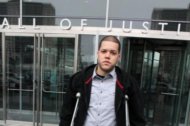 Adalberto Gonzalez at the Bronx Hall of Justice on March 25, 2013. He was charged with reckless endangerment, reckless driving and resisting arrest following the Aug. 11 crash in Hunts Point that broke his leg and killed a fellow dirt biker.