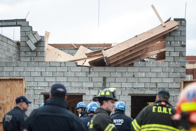 <p>Two workers were injured in a building building collapse on East 95th Street in Canarsie on March 22, 2013.</p>