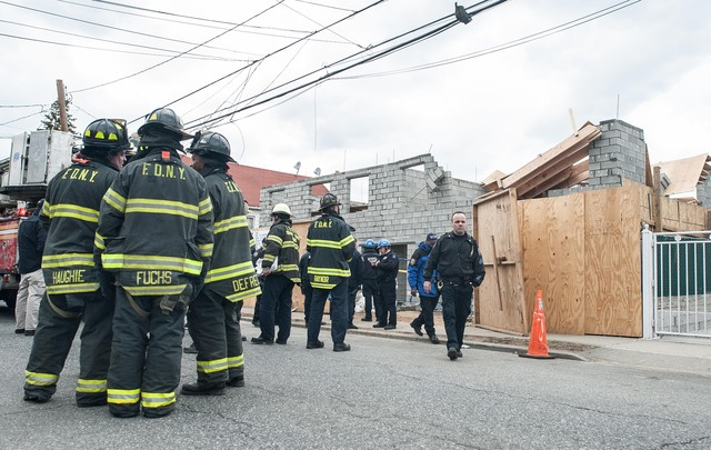 <p>Two workers were injured in a building under construction on East 95th Street in Canarsie suffered a collapse on March 22, 2013.</p>