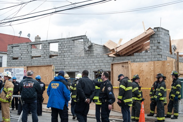<p>Two workers were injured in a building collapse on East 95th Street in Canarsie on March 22, 2013.</p>