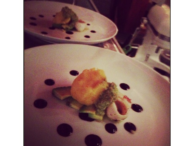 <p>@tamyrofe: Causa with calamari and chocolate balsamic #comodomenu valentines special</p>