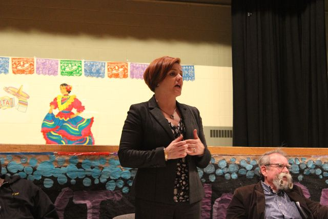 <p>Speaker Christine Quinn at the Red Hook Civic Association meeting, March 27, 2013.</p>