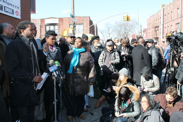 <p>City Councilman Jumaane Williams and anti-stop-and-frisk advocate Jose LaSalle clahed at the press conference in East Flatbush.</p>