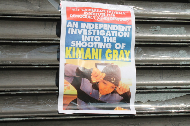 <p>These posters demanding an independent investigation were plastered around the neighborhood Thursday.</p>