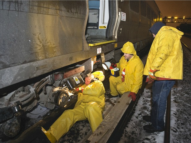 <p>Several commuter trains were canceled, and others delayed, while crews worked to repair damaged track after a derailment Monday March 18, 2013</p>