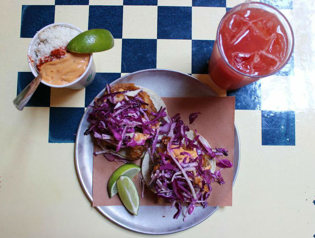 <p>Crispy Fish Tacos with Corn Esquites and Agua de Sandia from Tacombi.</p>