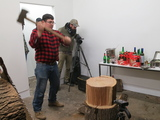 Art Show Features Performer Chopping Wood