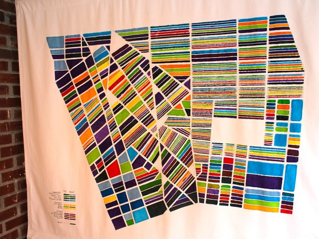 <p>The art on display includes a large map by Jennifer Maravillas that uses a color-coding system to show Village art and literary spaces past and present.</p>