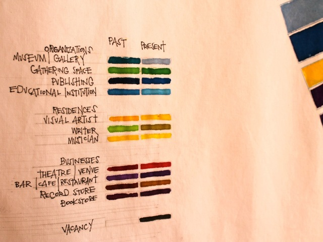 <p>A key explains the color code used in a large map by Jennifer Maravillas that depicts Village art and literary spaces past and present. The piece is on display on West Eighth Street through March 23, 2013.</p>