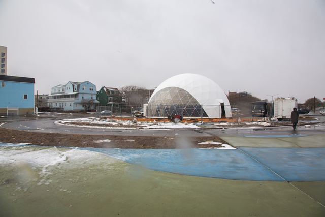 <p>MoMA PS1&#39;s EXPO 1: New York project includes the installation of a temporary cultural center, the VW Dome 2, in a parking lot near Beach 94th Street in The Rockaways.</p>