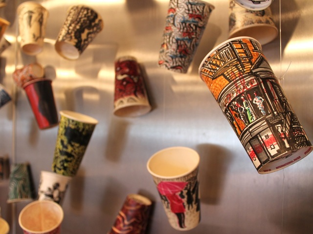 <p>Painter Gwenyth Leech turns the everyday into art by painting her coffee cups with scenes from the city.</p>