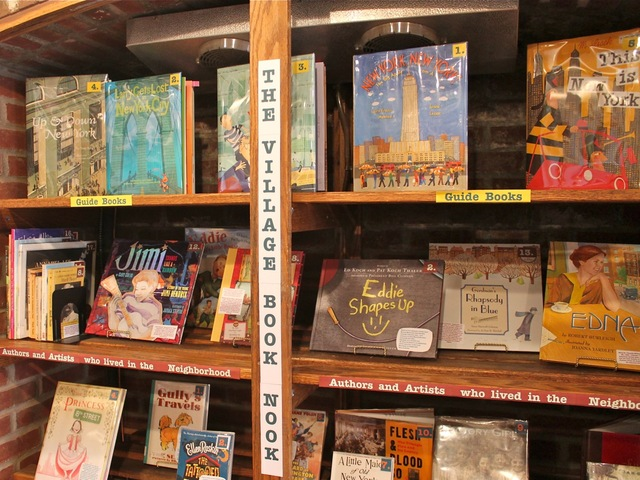 <p>The pop-up exhibit includes a Greenwich Village-themed lending library for children.</p>